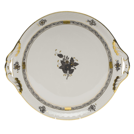 Chinese Bouquet Black Round Tray with Handles