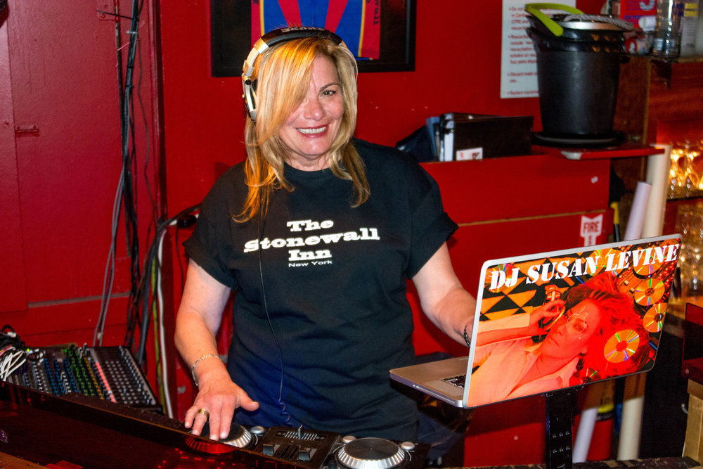 DJ Sue Levine   Hometown: Plainview, NY       I DJ all over the city, but you can usually find me DJ-ing on Saturday nights at Stonewall.       Works:       Most Saturday nights