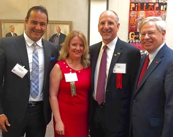 In this photo from left to right: Chris Cabanillas, Wendy Weathers, current New York State Bar Association President David Miranda, and former New York State Bar Association President Stephen Younger.