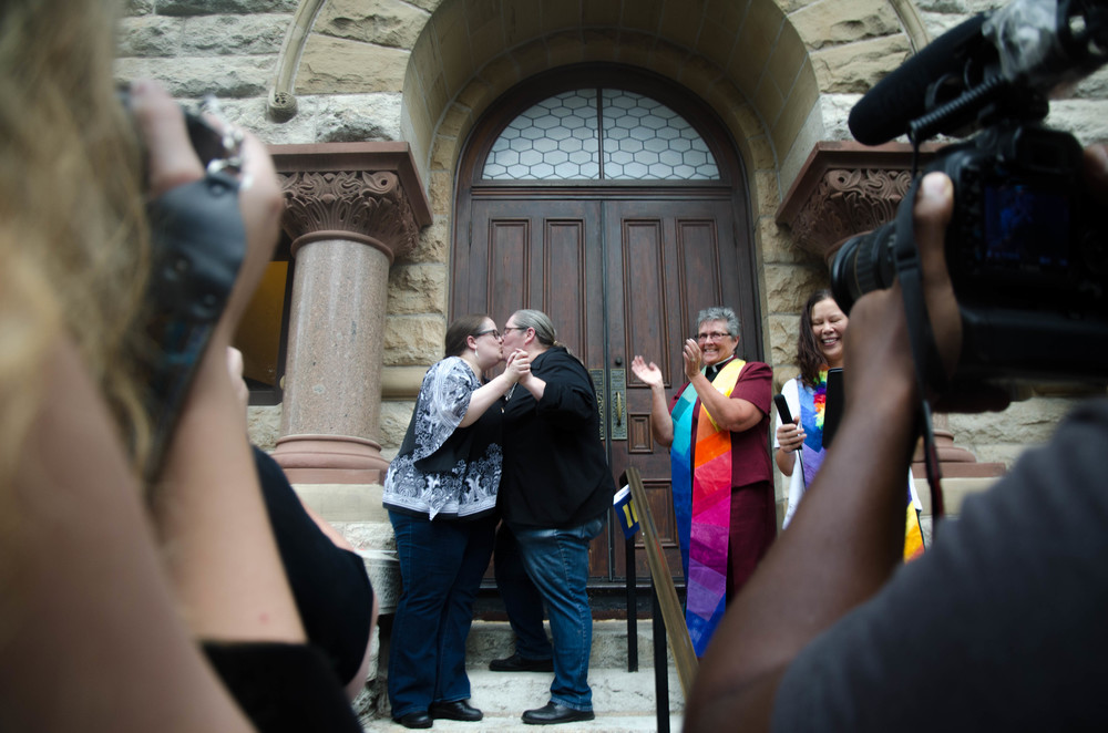 "Denton's first same-sex marriage took place on the courthouse steps where Ellen Depee and Angelia Ford finally said, ""I do."""