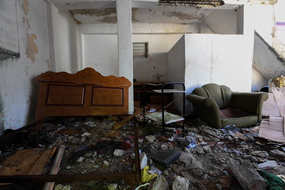 A house in La Perla, Puerto Rico, sits empty after Hurricane Maria.