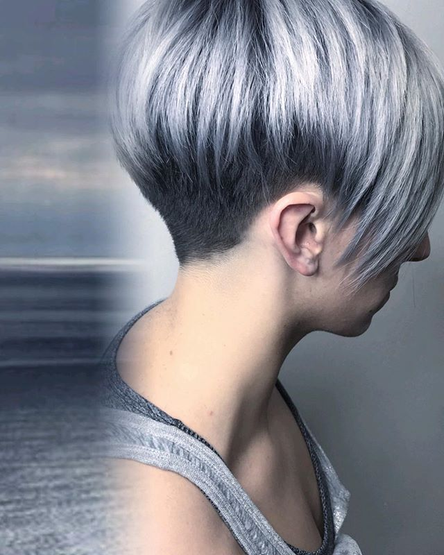 Gray inspiration for our client @gracie_gaga This was done in 2 sessions by @hair_by_charli and @hair_byginama using @olaplex to protect her from any sort of damage. Check out our story for the last session behind the scenes pic.  #sanantoniohair #undercut #nothingbutpixies #olaplex #modernsalon #elevatehair #tigicolorcopyright #goldwellapprovedus #shorthair #sanantoniohairstylist #sanantoniosalon