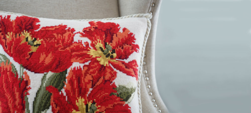 Tulip on Cream Needlepoint Pillow