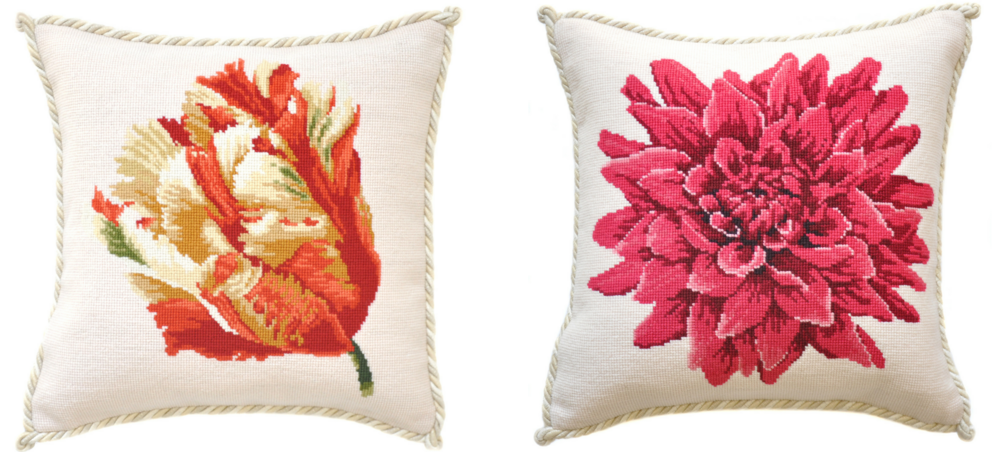 Blooms Needlepoint Pillows