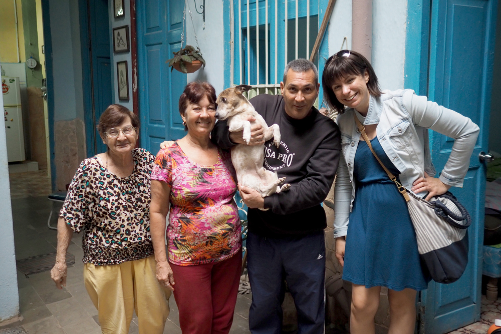Our lovely lovely host family in their home in Havana. Renee, Mary and Grandma... and of course José the pup!!! We ate breakfast with Grandma every morning and José provided lots of puppy snuggles.