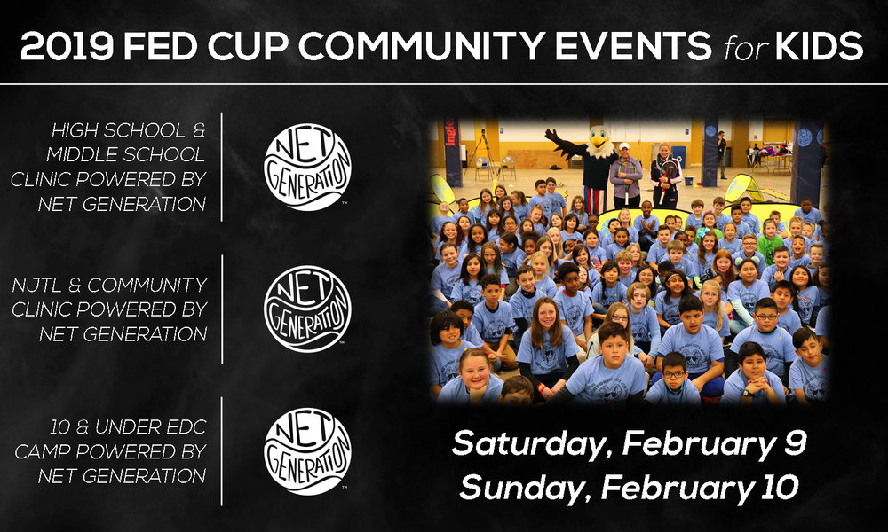 2019 Fed Cup Community Events for Kids - For the 2019 Fed Cup tie in Asheville, USTA North Carolina is sponsoring a variety of community events. These kid events, powered by Net Generation, coincide with the Fed Cup matches on Saturday, February 9 and Sunday, February 10. Click the button below to learn more and register!