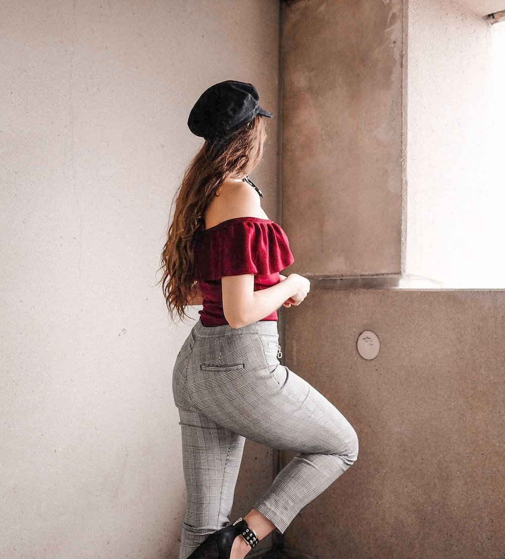Paris Off the Shoulder Top Plaid Pants Style by Nicole in Colour