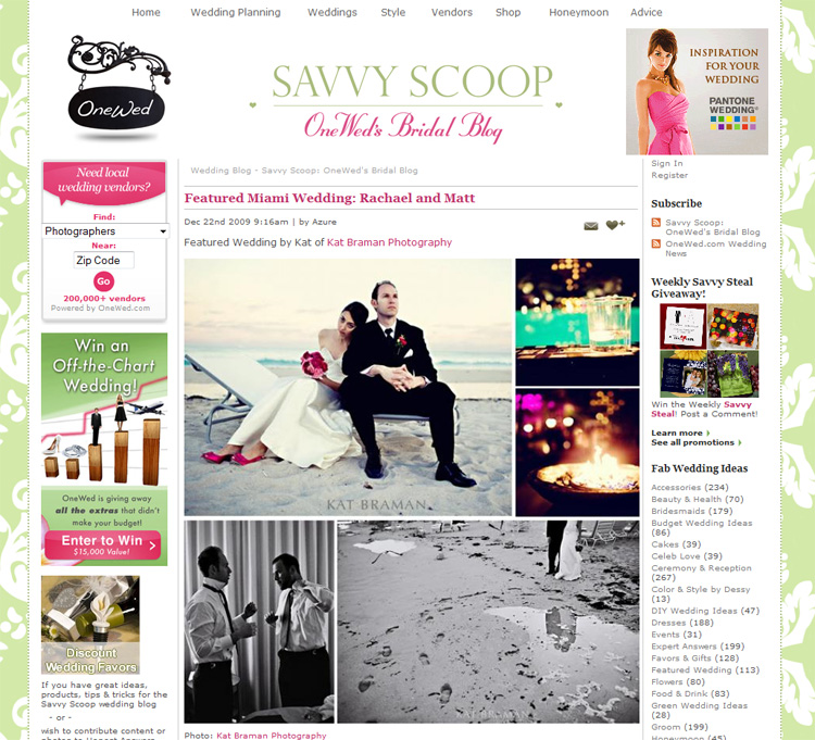 Kat Braman featured on OneWed Blog