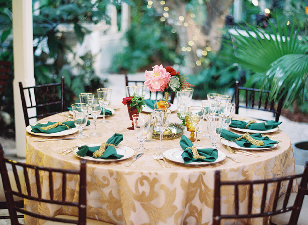 Jewel toned wedding reception at the Sundy House