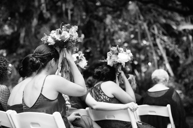 Wedding ceremony at Villa Woodbine - photo by Kat Braman