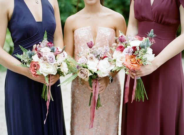 Different colored bridesmaid dress at Miami wedding - photo by Kat Braman