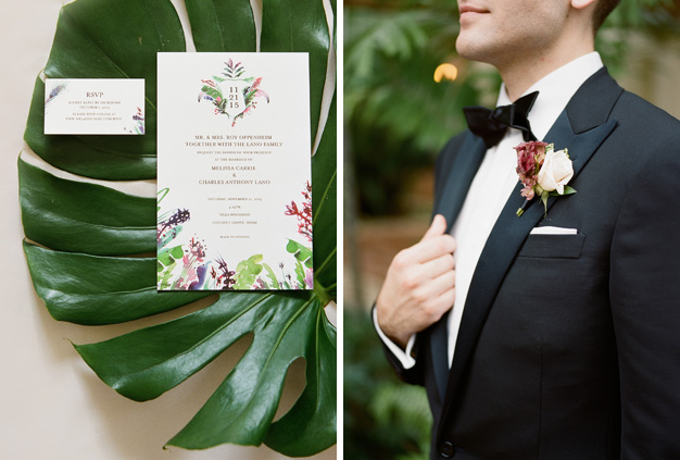Tropical inspired wedding invitations - Photo by Kat Braman