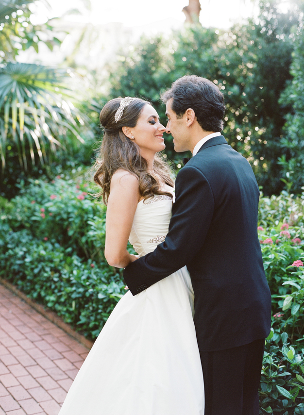 Bride and Groom Portraits at Society of Four Arts in Palm Beach - photo by Kat Braman