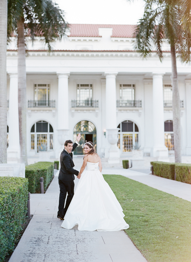 Bride and Groom at Flagler Museum Wedding - photo by Kat Braman