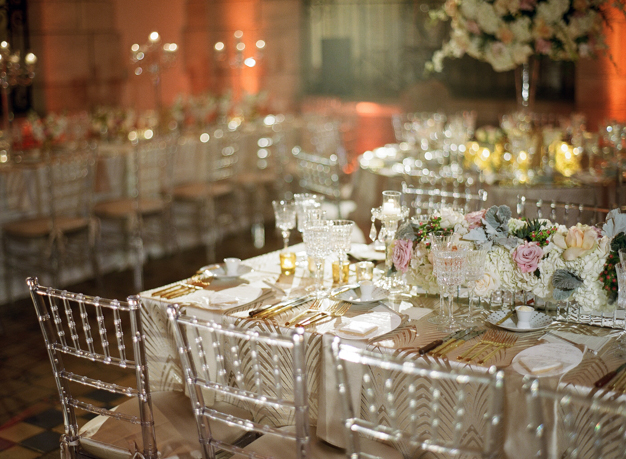 Gold and Cream Palm Beach Wedding Reception - photo by Kat Braman
