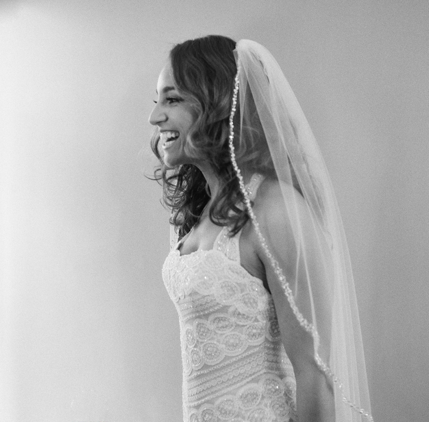 Bride Getting Ready in WTOO Dress for Miami Wedding - Photo by Kat Braman
