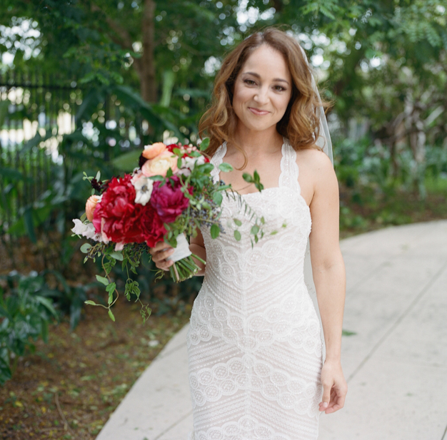 Bride in WTOO Dress at Miami Beach Botanical Gardens - Photo by Kat Braman