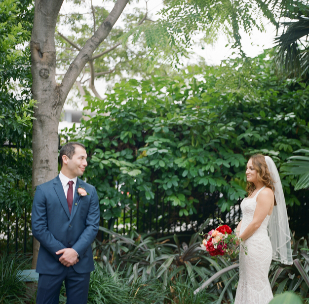 First Look at Miami Beach Wedding - Photo by Kat Braman