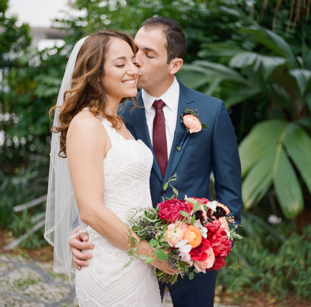 First Look at Miami Beach Botanical Gardens Wedding - Photo by Kat Braman