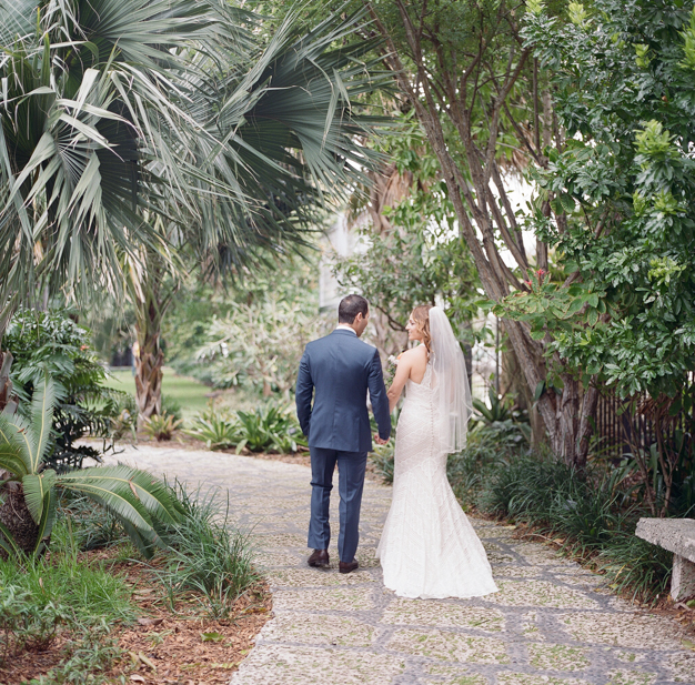 Bride and Groom at Miami Beach Botanical Gardens Wedding - Photo by Kat Braman