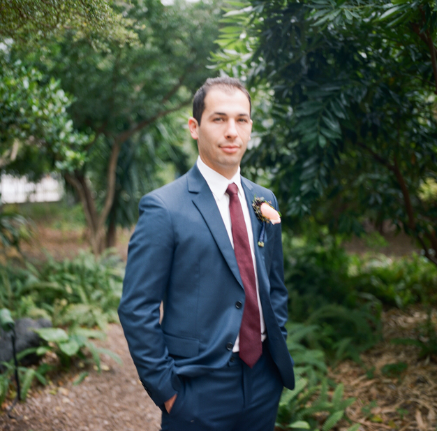 Groom in Blue Suit at Miami Beach Wedding - photo by Kat Braman