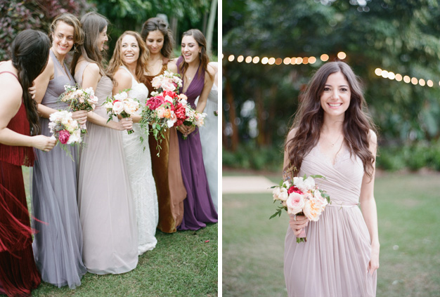 Bridesmaids in mixed jewel tone dresses at Miami Beach Wedding - photo by Kat Braman