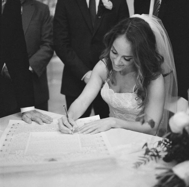 Ketubah Signing at Miami Beach Jewish Wedding - photo by Kat Braman