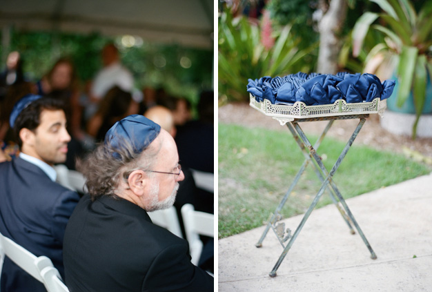 Blue Kippahs at Miami Wedding - photo by Kat Braman
