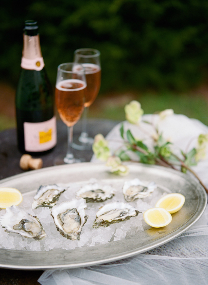 Oysters with Mignonette for Wedding Elopement Meal in Laguna Beach - photo by Kat Braman