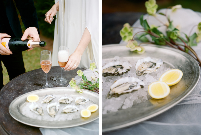 Oysters with Mignonette and Rose for Wedding Elopement Meal in Laguna Beach - photo by Kat Braman