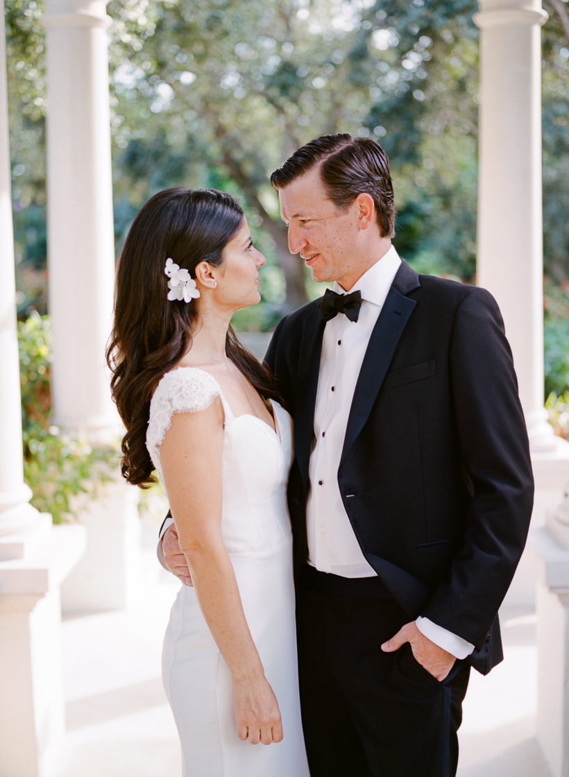 Elegant bride and groom at black tie Palm Beach wedding - photo by Kat Braman