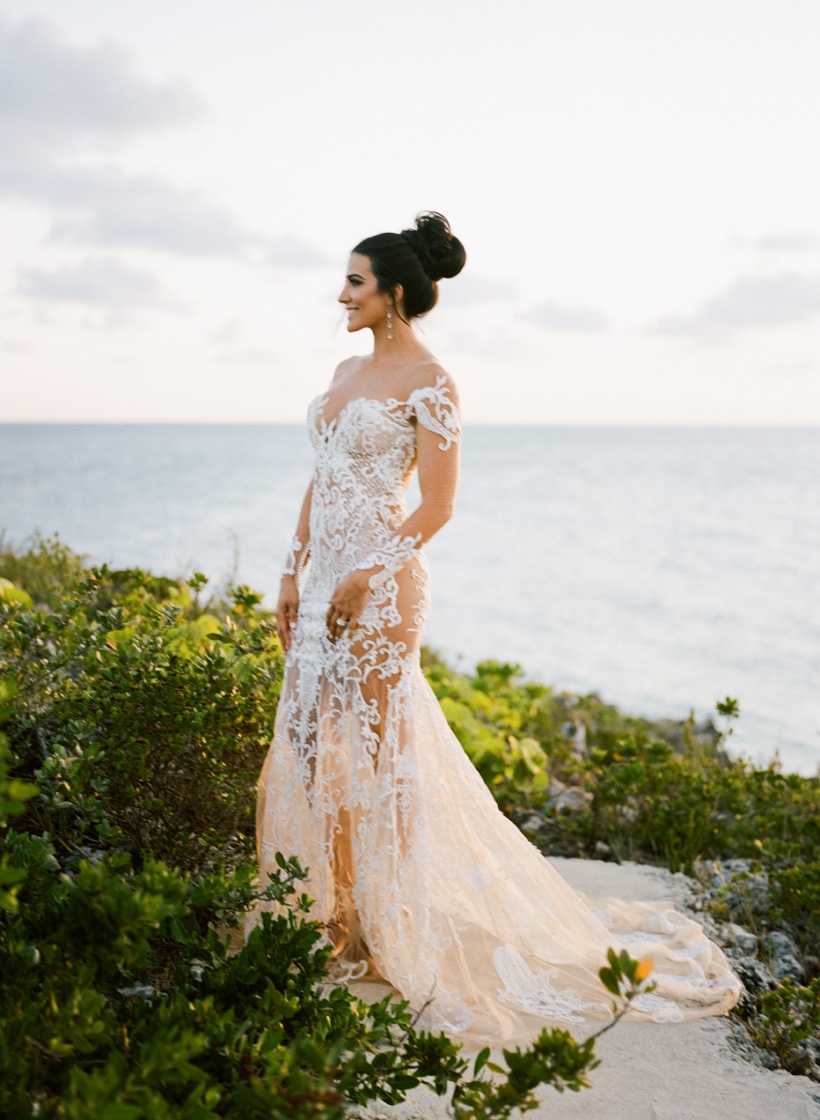 Bride in Nektaria World Wedding Dress at The Cove Eleuthera - photo by Kat Braman