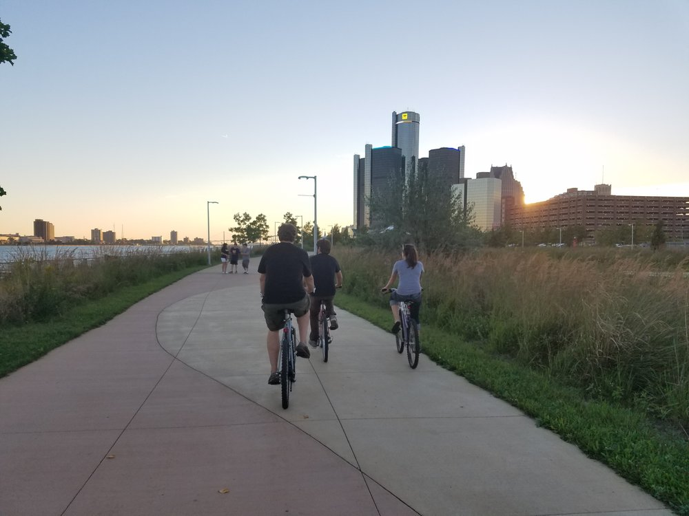 Biking on the Detroit River Walk.