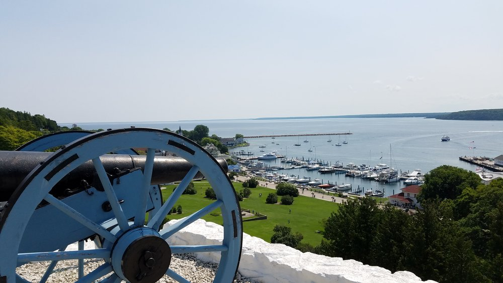 Climb a steep-ish walkway, duck through the door-shaped opening in the stone wall, and you're inside  Fort Mackinac , which, at 237 years young, still watches over the island's main harbor.