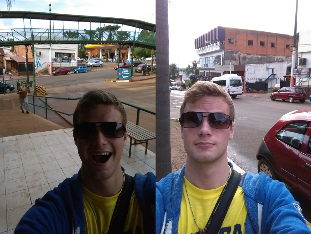 Ignore my stupid face(s) and you're left with a couple scenes from the city of Puerto Iguazu