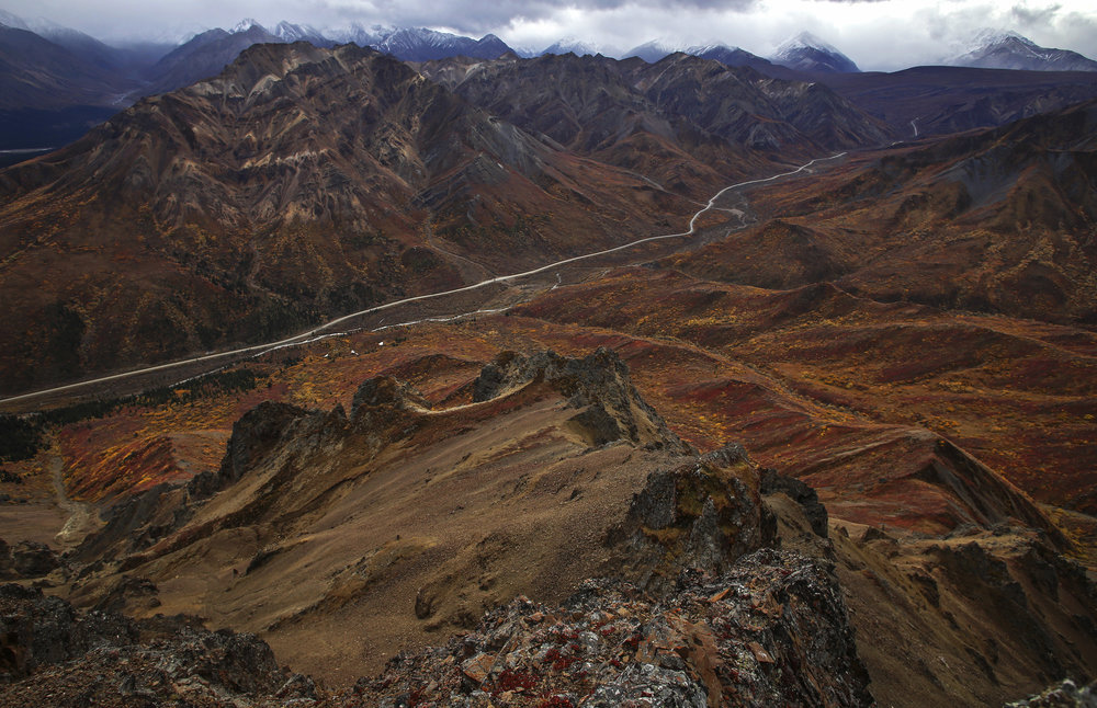 A view of Igloo Canyon from Igloo Mountain as the tundra turns red, orange and brown in Denali National Park and Preserve on September 14, 2017.