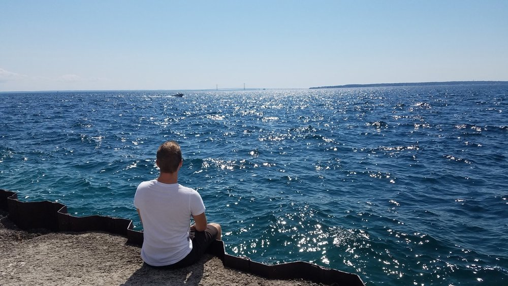 At water's edge on Mackinac Island, August 2017 (Photo: Nicholas Hansen)