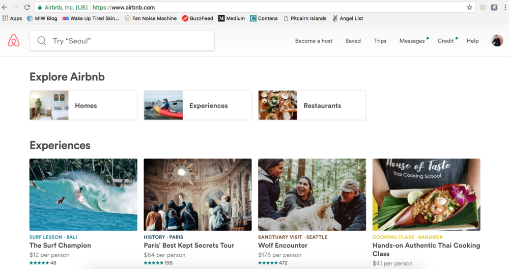 "As you can see here, Airbnb has expanded recently to offer not just accommodations but also ""experiences"""