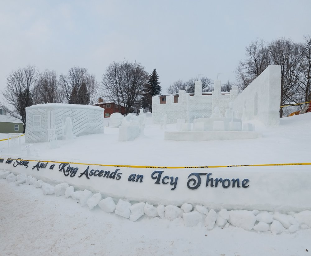 Michigan Tech students take their ice sculpting contest pretty seriously during Winter Carnival