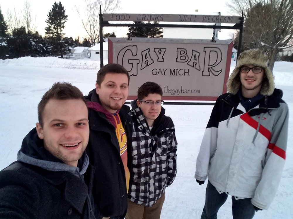 Outside the Gay Bar, clearly full of merriment