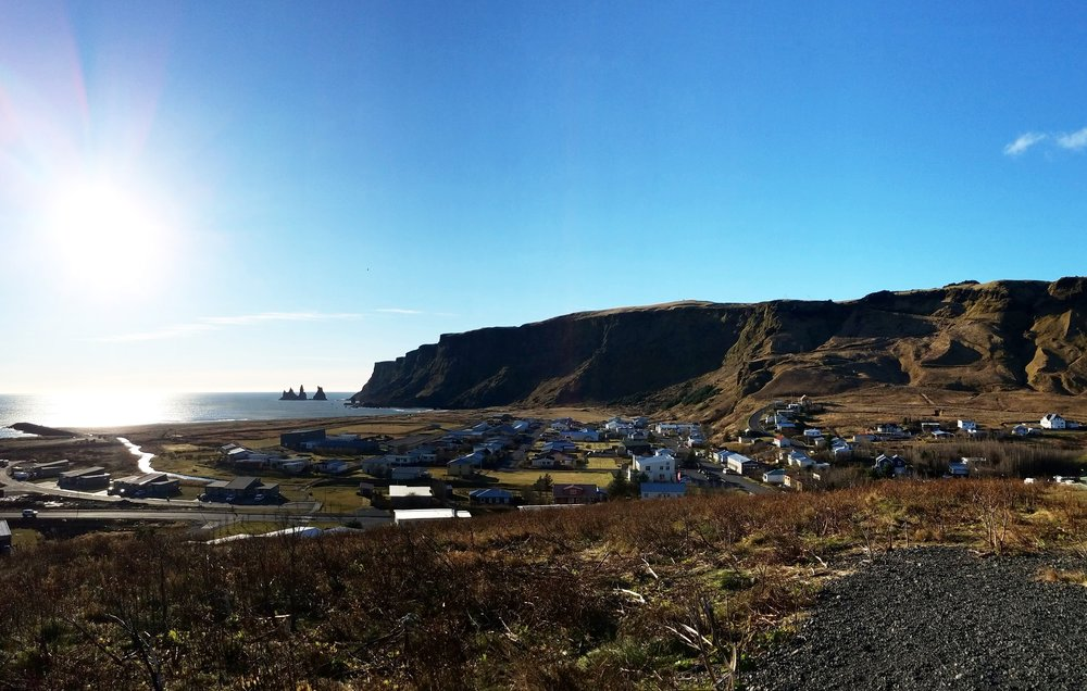The village of Vík, as seen from the hill sporting the red-roofed church