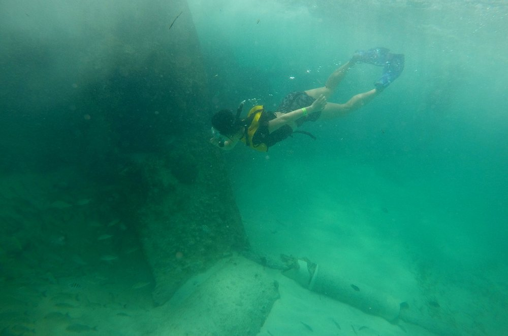 The aquamarine waters of the Caribbean Sea — and a shipwreck, to boot!