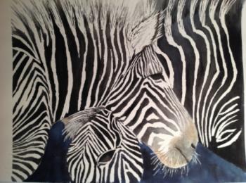 """Zebras 14 1/2"""" x 17"""""""