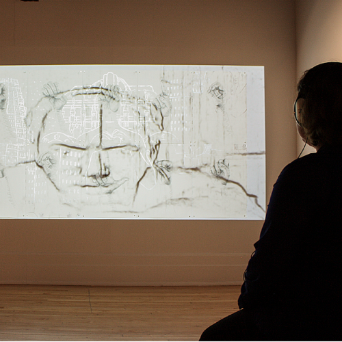 Metropolis/Mediatorinstalled at Press/Play: A Survey of Recent Video Art (2015) exhibition, Albright Gallery, Lake Forest, Illinois.