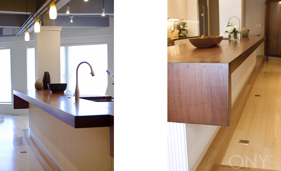 18' Long Mahagony Counter + Coutner Fold Down Detail