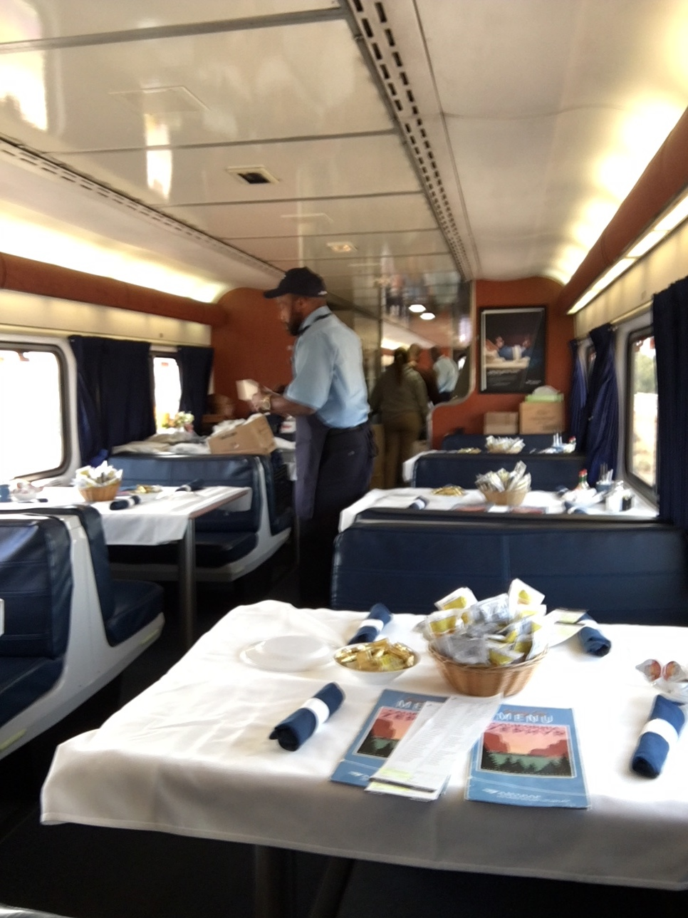 A blurry shot of the dining car - oops, train was bumpy here.