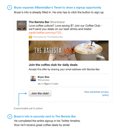 Twitter Lead Generation Cards Example