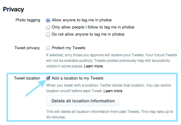 How to enable Twitter location services