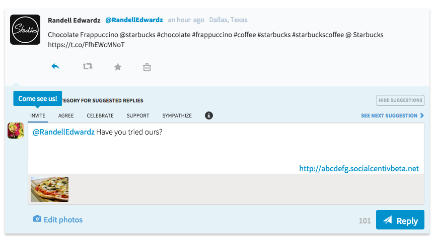 Hover Over for Suggested Responses on SocialCentiv