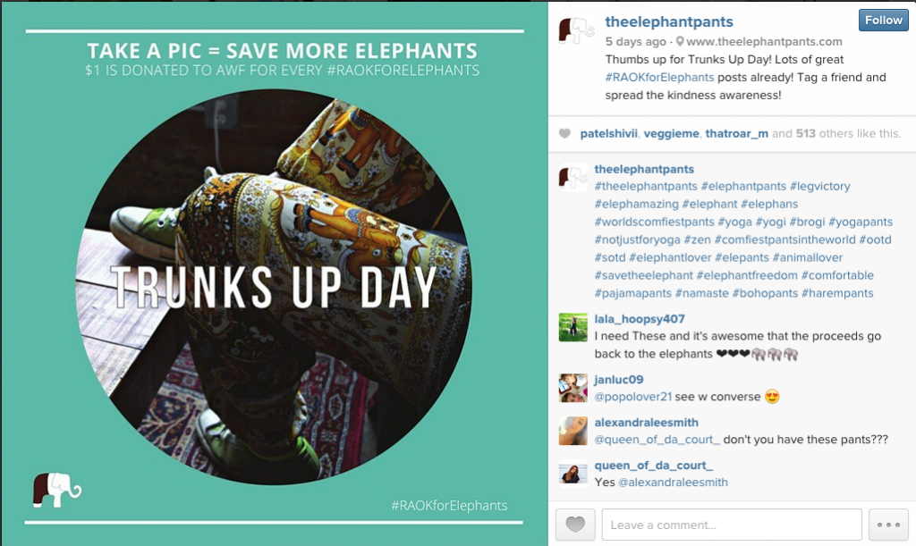 The Elephant Pants Trunks Up Day Instagram
